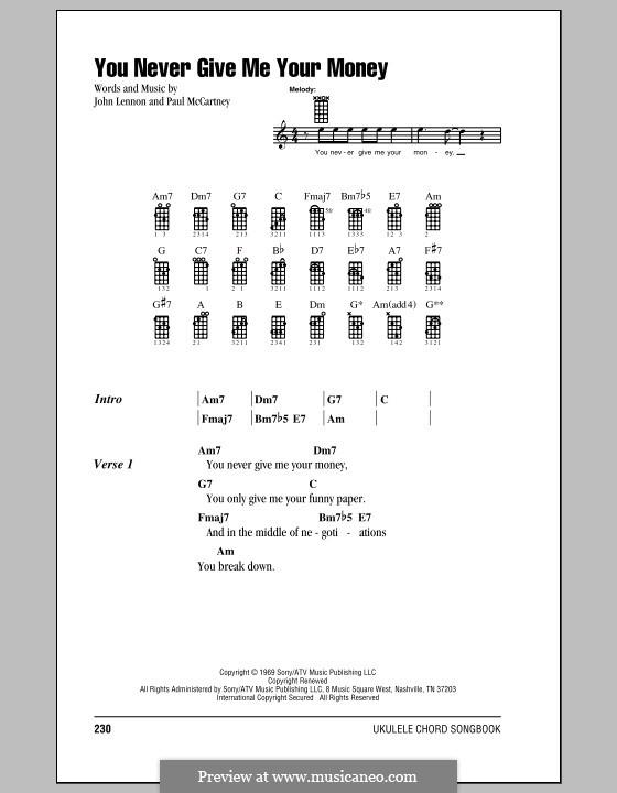You Never Give Me Your Money (The Beatles): para ukulele by John Lennon, Paul McCartney