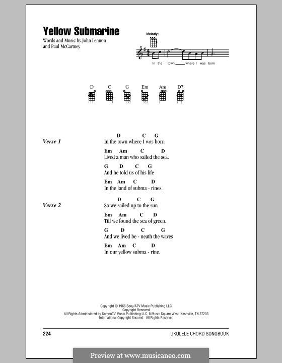 Yellow Submarine (The Beatles): para ukulele by John Lennon, Paul McCartney