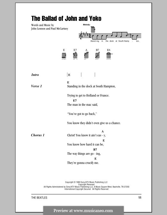 The Ballad of John and Yoko (The Beatles): para ukulele by John Lennon, Paul McCartney