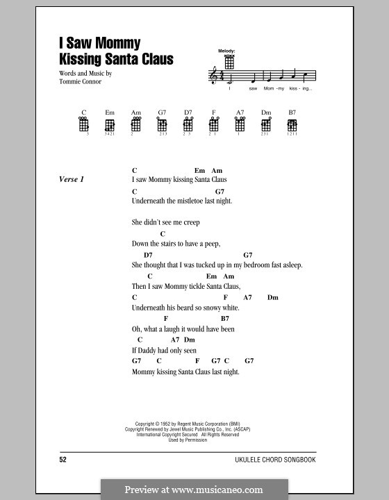 I Saw Mommy Kissing Santa Claus: para ukulele by Tommie Connor