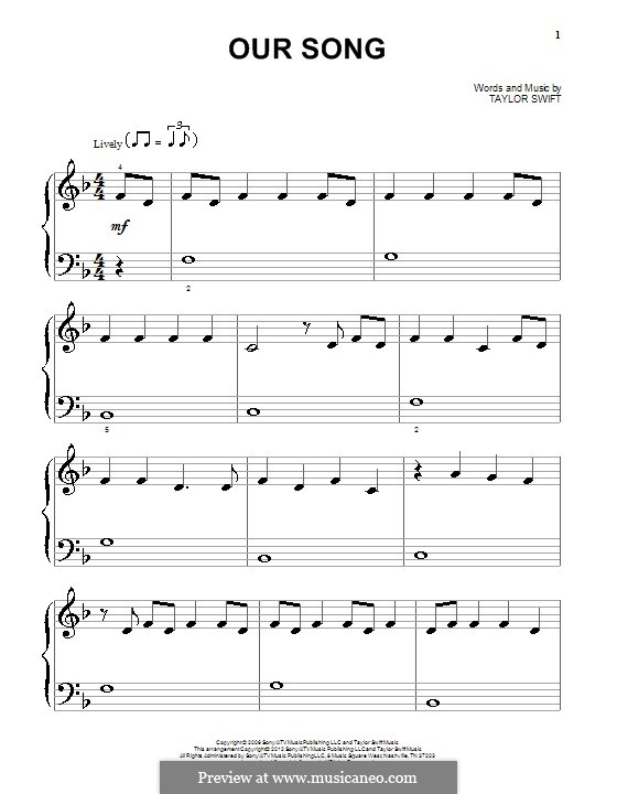 Our Song: Para Piano by Taylor Swift