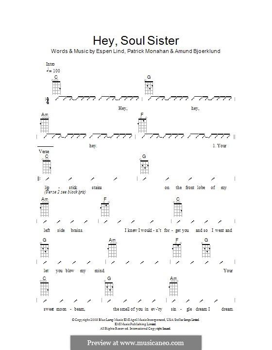 Hey, Soul Sister (Train): For ukulele (The Ukuleles) by Amund Bjorklund, Espen Lind, Patrick Monahan