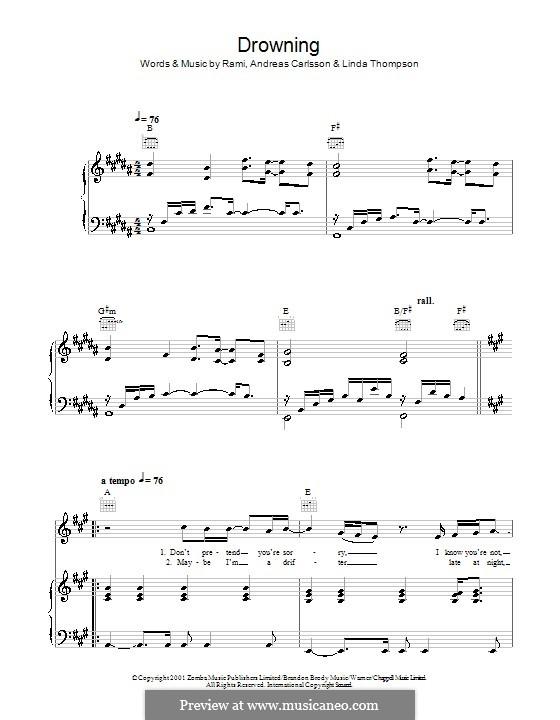 Drowning (Backstreet Boys): Para vocais e piano (ou Guitarra) by Andreas Carlsson, Linda Thompson