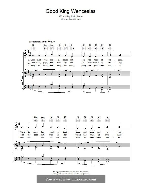Good King Wenceslas: Para vocais e piano (ou Guitarra) by folklore