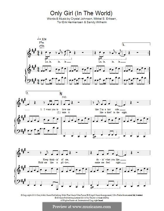 Only Girl (In the World): Para vocais e piano (ou Guitarra) by Crystal Johnson, Mikkel Storleer Eriksen, Sandy Wilhelm, Tor Erik Hermansen
