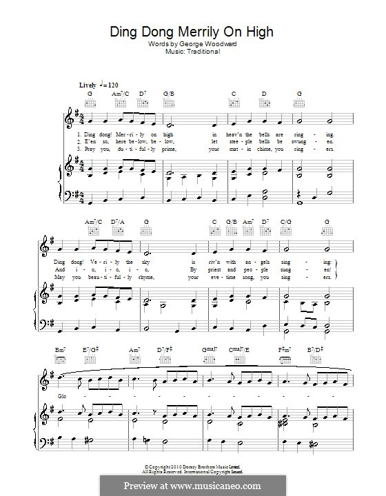 Ding Dong! Merrily on High (Printable Scores): Para vocais e piano (ou Guitarra) by folklore