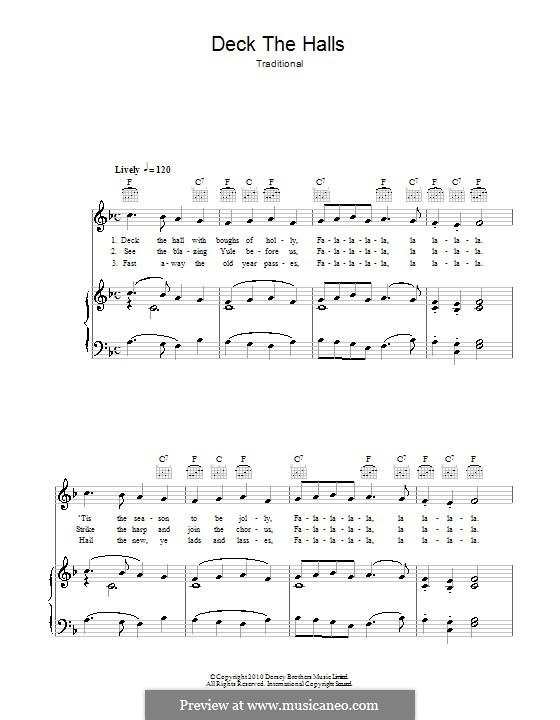 Deck the Hall (Printable): Para vocais e piano (ou Guitarra) by folklore