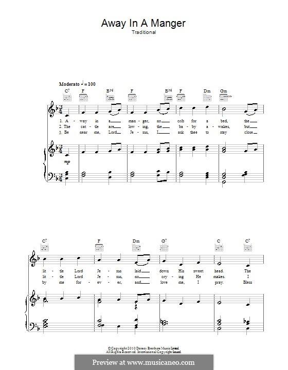 Away in a Manger: Para vocais e piano (ou Guitarra) by William (James) Kirkpatrick
