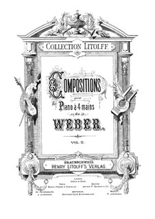 Six Sonatas for Violin and Piano, Op.10: para piano de quadro mãos by Carl Maria von Weber