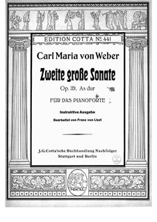 Sonata for Piano No.2 in A Flat Major, J.199 Op.39: para um único musico (Editado por H. Bulow) by Carl Maria von Weber
