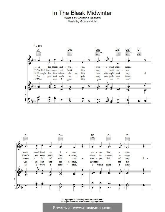 In the Bleak Midwinter: Para vocais e piano (ou Guitarra) by Gustav Holst
