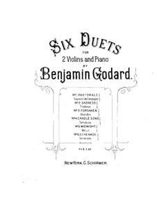 Six Duets for Two Violins and Piano: partitura completa by Benjamin Godard