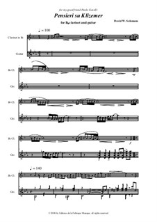 Pensieri zu Klizemer: For clarinet in Bb and guitar by David W Solomons