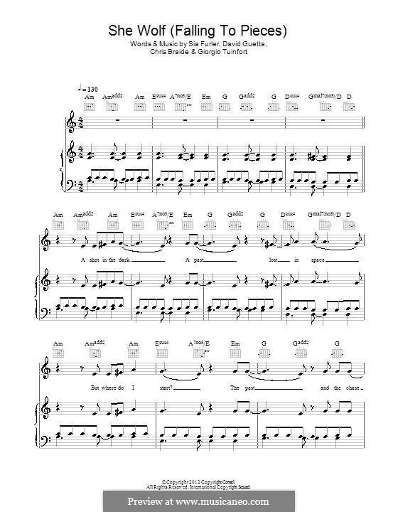 She Wolf (Falling to Pieces): Para vocais e piano (ou Guitarra) by Chris Braide, David Guetta, Giorgio Tuinfort, Sia Furler