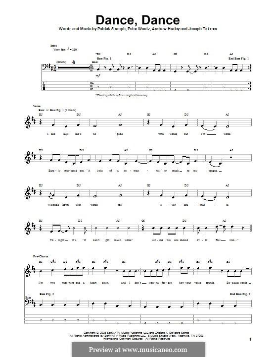 Dance, Dance (Fall Out Boy): para baixo com guia by Andrew Hurley, Joseph Trohman, Patrick Stump, Peter Wentz