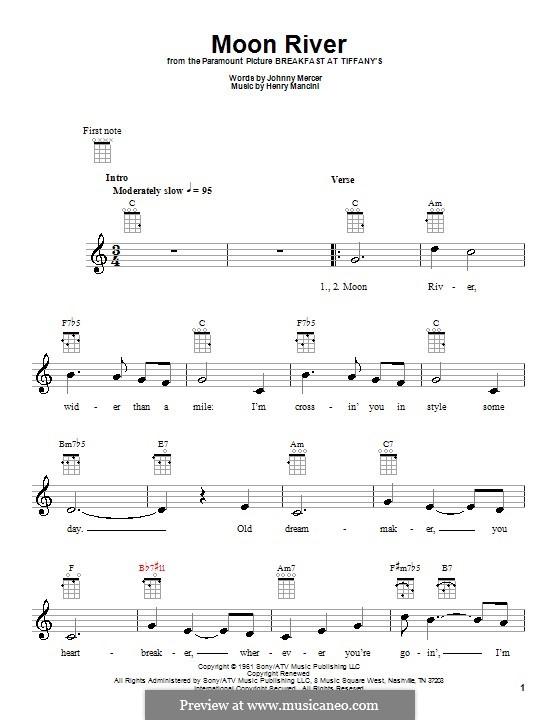 Moon River (from Breakfast at Tiffany's): para ukulele by Henry Mancini