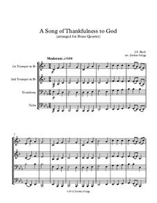 A Song of Thankfulness to God (Father, We Thank Thee): para quarteto de bronze by Johann Sebastian Bach