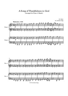 A Song of Thankfulness to God (Father, We Thank Thee): para piano de quadro mãos by Johann Sebastian Bach