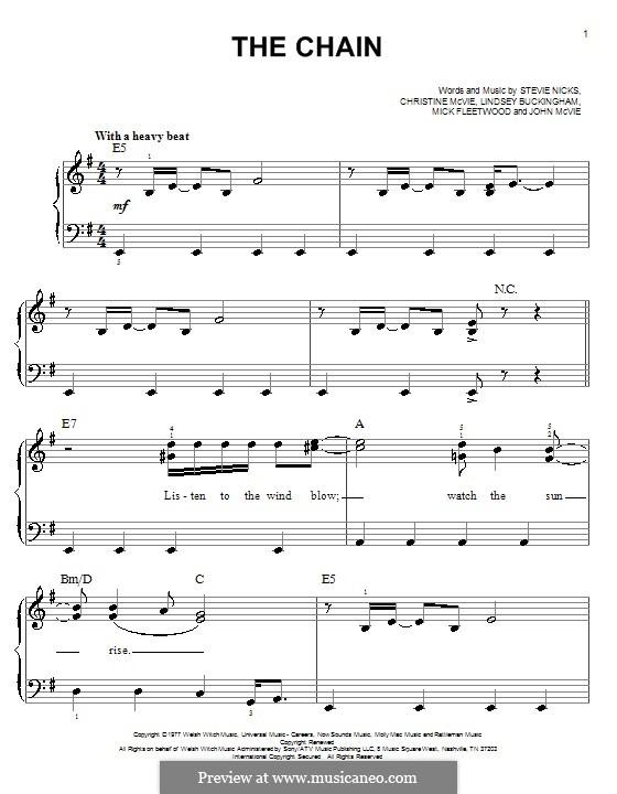 The Chain (Fleetwood Mac): Para Piano by Christine McVie, John McVie, Lindsey Buckingham, Mick Fleetwood, Stevie Nicks