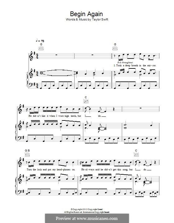 Begin Again: Para vocais e piano (ou Guitarra) by Taylor Swift
