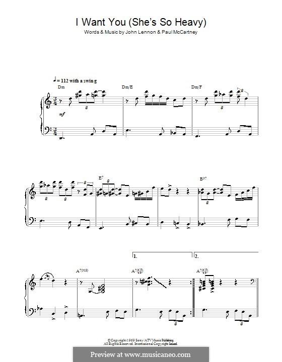 I Want You (She's So Heavy): For piano (jazz version) by John Lennon, Paul McCartney