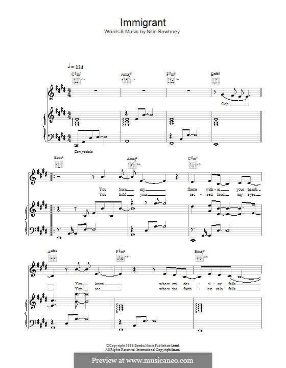 Immigrant: Para vocais e piano (ou Guitarra) by Nitin Sawhney