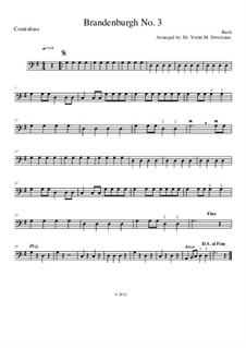 Partitura completa: For string orchestra (for elementary to middle school age youths) – double bass part by Johann Sebastian Bach