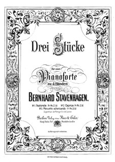 Three Pieces for Two Pianos Four Hands: partitura para piano by Bernhard Stavenhagen