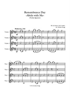Abide with Me: For violin quartet by William Henry Monk