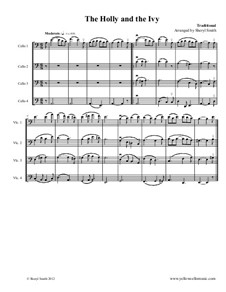 The Holly and the Ivy: For four intermediate cellos (cello quartet) by folklore