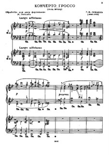 Concerto Grosso No.6 in G Minor, HWV 324: Movements I-IV, for two pianos by Georg Friedrich Händel