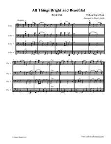 All Things Bright and Beautiful: For intermediate cello quartet (four cellos) by William Henry Monk