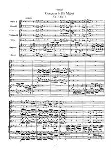 Concerto No.1 in B Flat Major, HWV 306: partitura completa by Georg Friedrich Händel