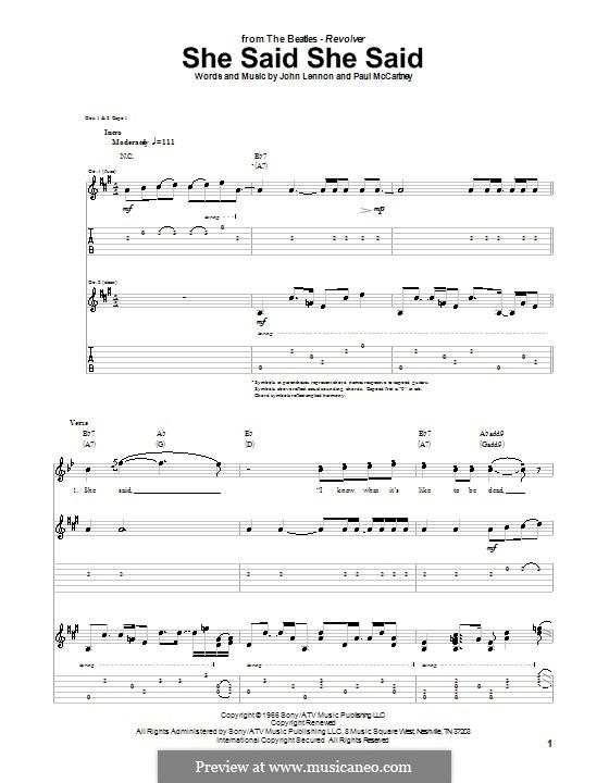 She Said She Said (The Beatles): Para guitarra com guia by John Lennon, Paul McCartney