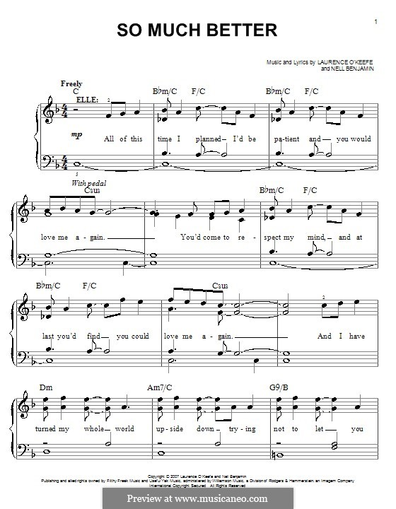 So Much Better (Legally Blonde The Musical): Para Piano by Laurence O'Keefe, Nell Benjamin