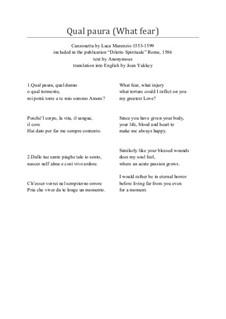 Canzonetta Qual Paura, for SSA voices: Canzonetta Qual Paura, for SSA voices by Luca Marenzio