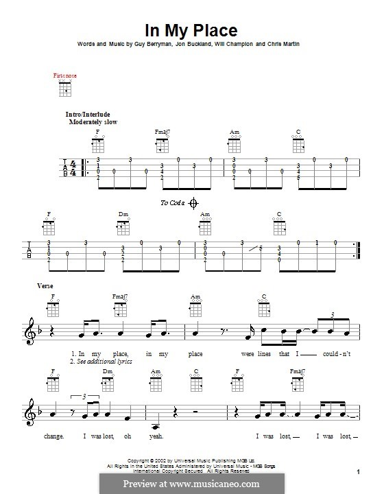In My Place (Coldplay): para ukulele by Chris Martin, Guy Berryman, Jonny Buckland, Will Champion