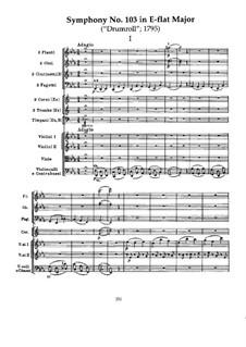 Symphony No.103 in E Flat Major 'Drum Roll', Hob.I/103: movimento I by Joseph Haydn
