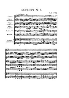 Brandenburg Concerto No.5 in D Major, BWV 1050: Partitura completa by Johann Sebastian Bach