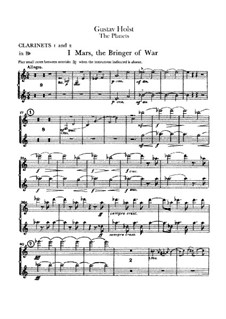 Complete Suite: parte clarinetas by Gustav Holst