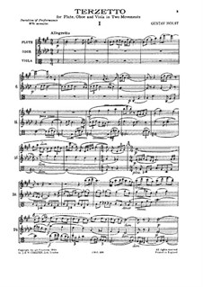 Terzetto for Flute, Oboe and Viola: Terzetto for Flute, Oboe and Viola by Gustav Holst