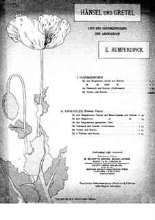 Hansel and Gretel: Sandman, for cello (or violin) and piano by Engelbert Humperdinck