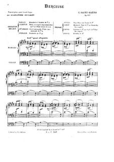 Berceuse, Op.105: para orgãos by Camille Saint-Saëns