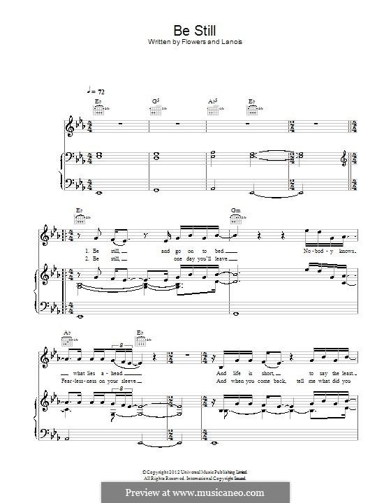 Be Still (The Killers): Para vocais e piano (ou Guitarra) by Brandon Flowers, Daniel Lanois, Dave Keuning, Mark Stoermer, Ronnie Vannucci