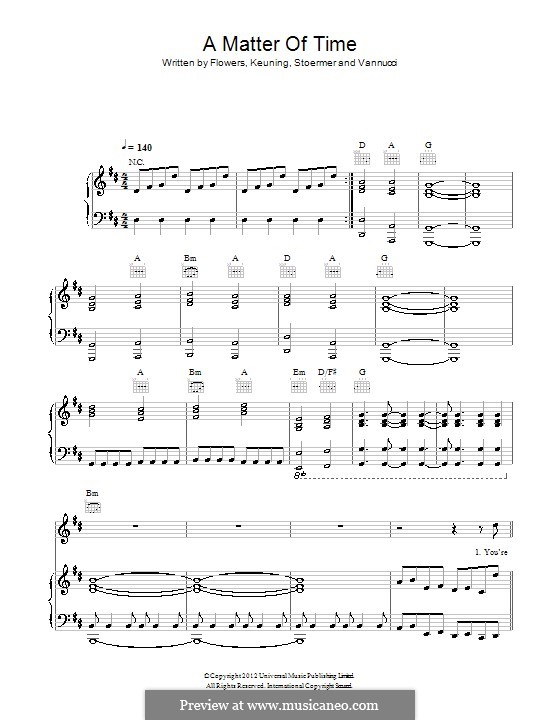 A Matter of Time (The Killers): Para vocais e piano (ou Guitarra) by Brandon Flowers, Dave Keuning, Mark Stoermer, Ronnie Vannucci