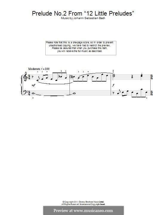 Twelve Little Preludes: Prelude No.2 in C Minor by Johann Sebastian Bach