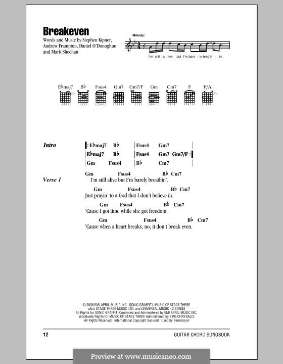 Breakeven (The Script): Letras e Acordes by Andrew Frampton, Danny O'Donoghue, Mark Sheehan, Stephen Alan Kipner