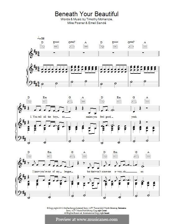 Beneath Your Beautiful: Para vocais e piano (ou Guitarra) by Emeli Sandé, Mike Posner, Timothy McKenzie