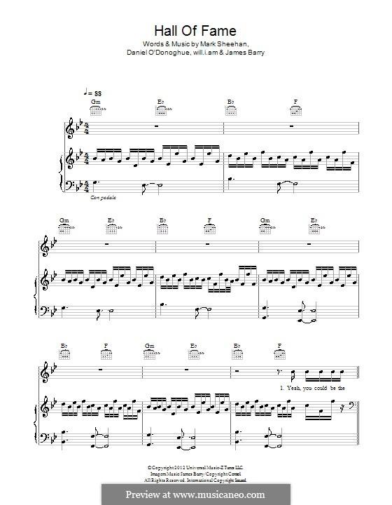 Hall of Fame (The Script feat. will.i.am): Para vocais e piano (ou Guitarra) by Danny O'Donoghue, Mark Sheehan, will.i.am, James Barry