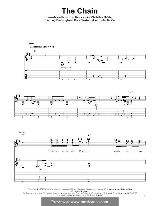 The Chain (Fleetwood Mac): Para guitarra com guia by Christine McVie, John McVie, Lindsey Buckingham, Mick Fleetwood, Stevie Nicks